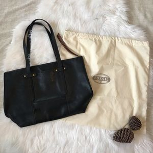 FOSSIL Black Leather Felicity Tote